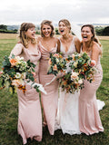 Charming V-neck Sleeveless Mermaid Long Bridesmaid Dresses, SW1156