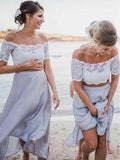 2 Pices Lace Off the Shoulder Short Sleeves Tea Length Wedding Bridesmaid Dresses, SW1001