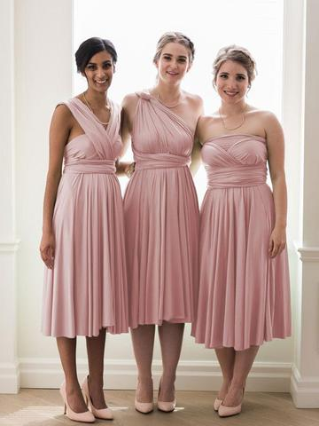 Mismatched Cheap Blush Pink A Line Keen Length Bridesmaid Dresses, SW1069