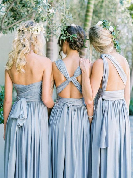Simple Blue Handmade Custom Make Floor-Length Long Bridesmaid Dresses, SW1047