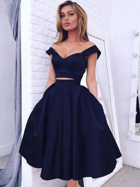 Simple Two Pieces Off Shoulder A Line Navy Blue Short Homecoming Dress, BTW151