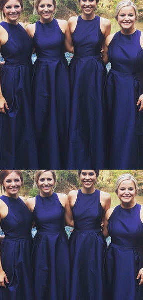 Simple Navy Blue Sleeveless Satin Long Bridesmaid Dress ,MD334