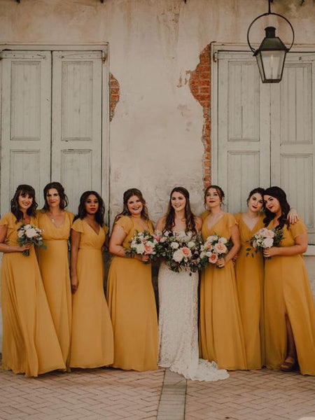 Sexy V-neck Chiffon Floor Length Side Slit Long Bridesmaid Dresses.PB1084