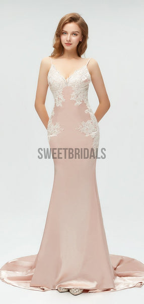 Simple V Neck Lace Applique Backless Mermaid Long Prom Dresses, MD602