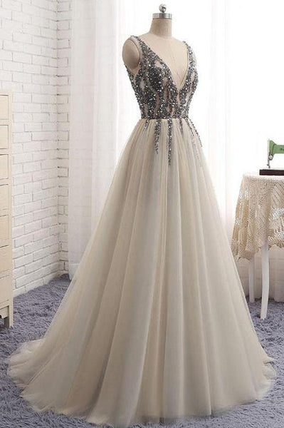 Sweet V Neck A Line Tulle Long Prom Dress with Beading,MD324