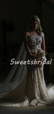Pretty One-shoulder Lace Mermaid With Train Appliques Long Wedding Dresses Evening Dresses, WD1123