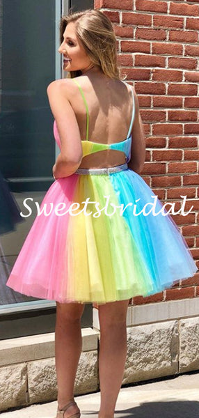 Simple V-neck Tulle Mini Short Homecoming Dresses, BTW298