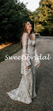 Vintage Sexy Mermaid Lace Long Sleeves Long Wedding Dresses Evening Dresses,WD1144