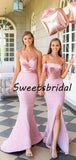Elegant Simple Mermaid Satin Sequin Party Dresses Long Bridesmaid Dresses, SW1094