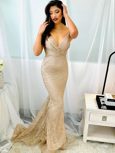 New Arrival V-neck Spaghetti Strap Mermaid Evening Party Prom Dresses,SW1130
