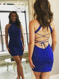 Pretty Royal Blue Halter Tight With Rhinestone Short Homecoming Dress, BTW206