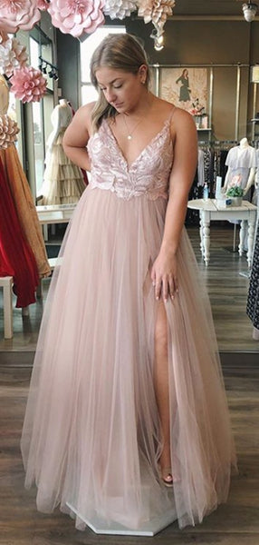 Sexy V-neck Lace Sleeveless Party Dress, Long Prom Gown Dresses. DB1035