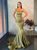 Spaghetti Strap Mermaid Satin Simple Long Evening Prom Dresses, PD0034