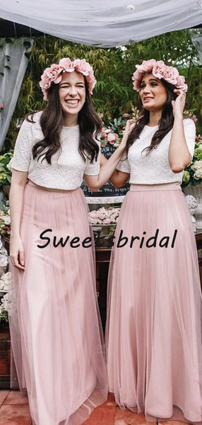 Sweet Short Sleeves Lace Top A Line Tulle Floor Length Long Bridesmaid Dresses,SW1043