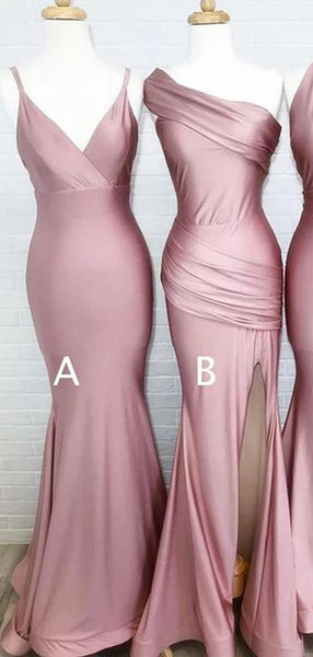 Mismatched Dusty Rose Floor Length Mermaid Long Bridesmaid Dresses, SW1051