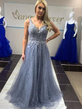 Charming V-neck Appliques A-line Evening Long Prom Dresses, PD0203