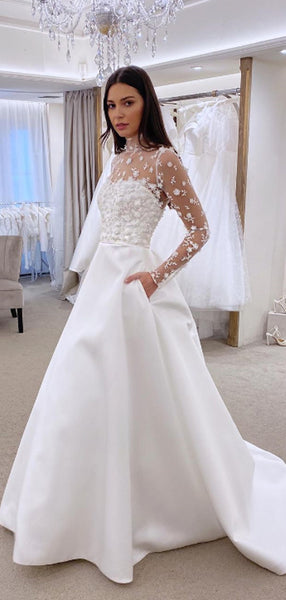 Gorgeous White Tulle A-line Floor Length Cheap Simple Wedding Dresses, WG195