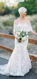 Stunning Ivory Lace Sweetheart Strapless Mermaid Wedding Dresses,DB0149