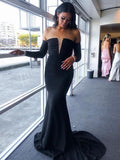 Simple Straight Mermaid Off-shoulder Long Sleeve Evening Prom Dresses.SW1147