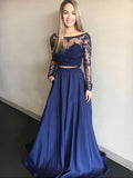 Pretty Two Pieces Lace Top Beaded Long Sleeves Long Evening Prom Dresses, SW0038
