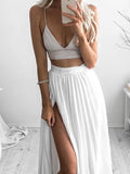 Chic Two Pieces White Spaghetti Strap V-Neck High Side Slit Floor Length Evening Prom Dresses, SW0045