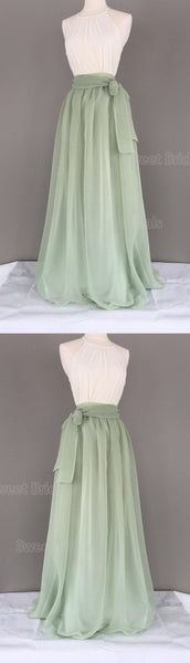 Simple Sage Green Halter Sleeveless Floor Length Evening Prom Dresses, SW0031