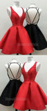 Cheap Red & Black V-Neck Backless Short Homecoming Dresses, SW0023