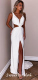 Sexy V-neck Spaghetti Strap Side Slit White Long Prom Dresses.SW1182