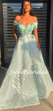 Simple Off-shoulder Tulle A-line Long Prom Dresses.SW1148