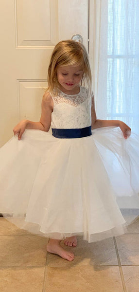 Lovely Round Neck Sleeveless A Line Tulle Lace Flower Girl Dresses,GTE2132