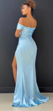 Simple Off-shoulder Side Slit Mermaid Evening Party Prom Dresses. DB1023