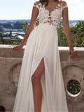 Long A-Line White Lace Prom Dress With Appliques, Side Slit Sexy Wedding Dresses, WD0124