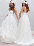 New Hot Sale Simple White Spaghetti Straps V-Neck Elegant Wedding Dresses.RG0002