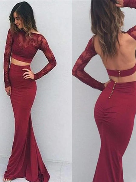 Burgundy Two Pieces Backless With Long Sleeves Mermaid Lace Sexy Prom Dress.PD0202