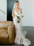 Pretty V-neck Mermaid Lace Tulle Spaghetti Strap Sleeveless Long Wedding Dresses Evening Dresses, WD1132