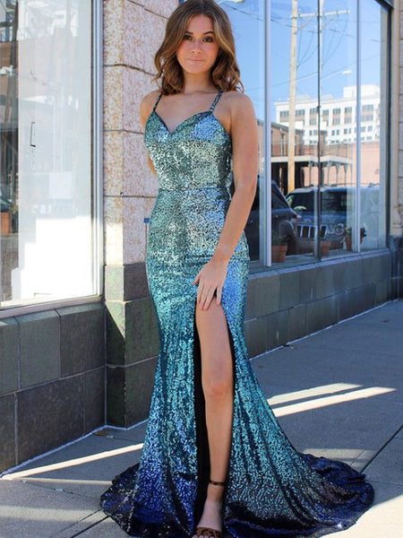 Sexy Spaghetti Strap V-neck Simple Mermaid Long Prom Dresses.SW1172