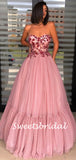 Simple Straight Tulle A-line Long Prom Dresses.SW1149