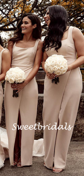 Charming Spaghetti Strap Sleeveless Side Slit Bridesmaid Dresses, SW1159