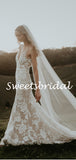 Vintage V-neck Mermaid Lace Sleeveless Long Wedding Dresses Evening Dresses,WD1146