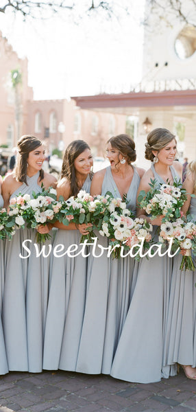 Charming V-neck Floor-length Party Dresses Long Bridesmaid Dresses, SW1119