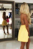 Simple Yellow Spaghetti Strap Lace Up Mini Short Homecoming Dress, BTW172