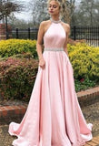 Pink A-line Satin Open Back Sleeveless Halter Long Prom Dress, MD319