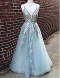 Elegant Spaghetti Strap V Neck Open Back Applique Tulle Long Prom Dresses ,MD343
