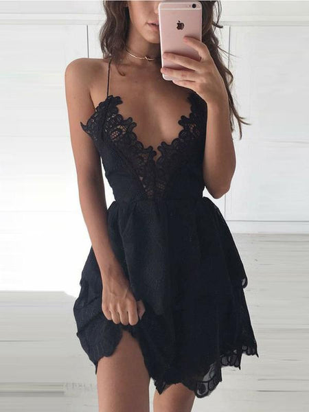 Unique Spaghetti Strap Deep V Neck Black Lace Short Homecoming Dress, BTW208