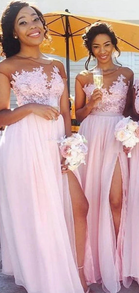 Pretty Light Pink Lace Applique A Line Chiffon Side Slit Long Bridesmaid Dresses, SW1023