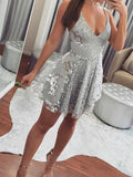 Sexy Spaghetti Strap Deep V Neck With Sequin Mini Short Homecoming Dress, BTW187