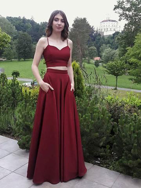 Pretty Burgundy Two Pieces Spaghetti Strap Floor Length Evening Prom Dresses, SW0050