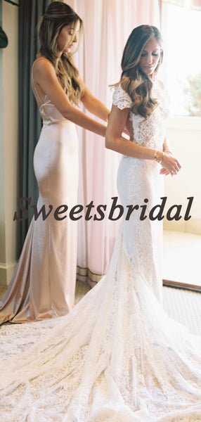 Pretty Straight Mermaid Vintage Open Back Long Wedding Dresses Evening Dresses, WD1134
