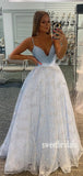 Simple V-neck A-line Tulle Cheap Long Prom Dresses.SW1205