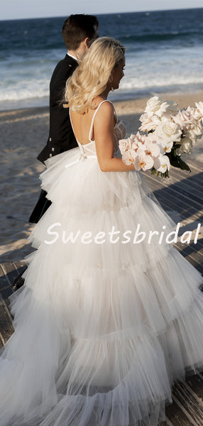 Pretty Spaghetti Strap Tulle A-line Long Wedding Dresses Evening Dresses, WD1127